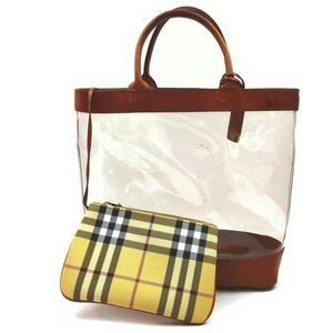 """""""Burberry London Clear Nova Check Tote with Pouch"""